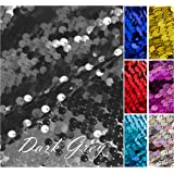 HomeBuy 9Mm Sequin Fabric Material, 1 Way Stretch/130Cm Wide/Sparkling Dark Grey Sequins
