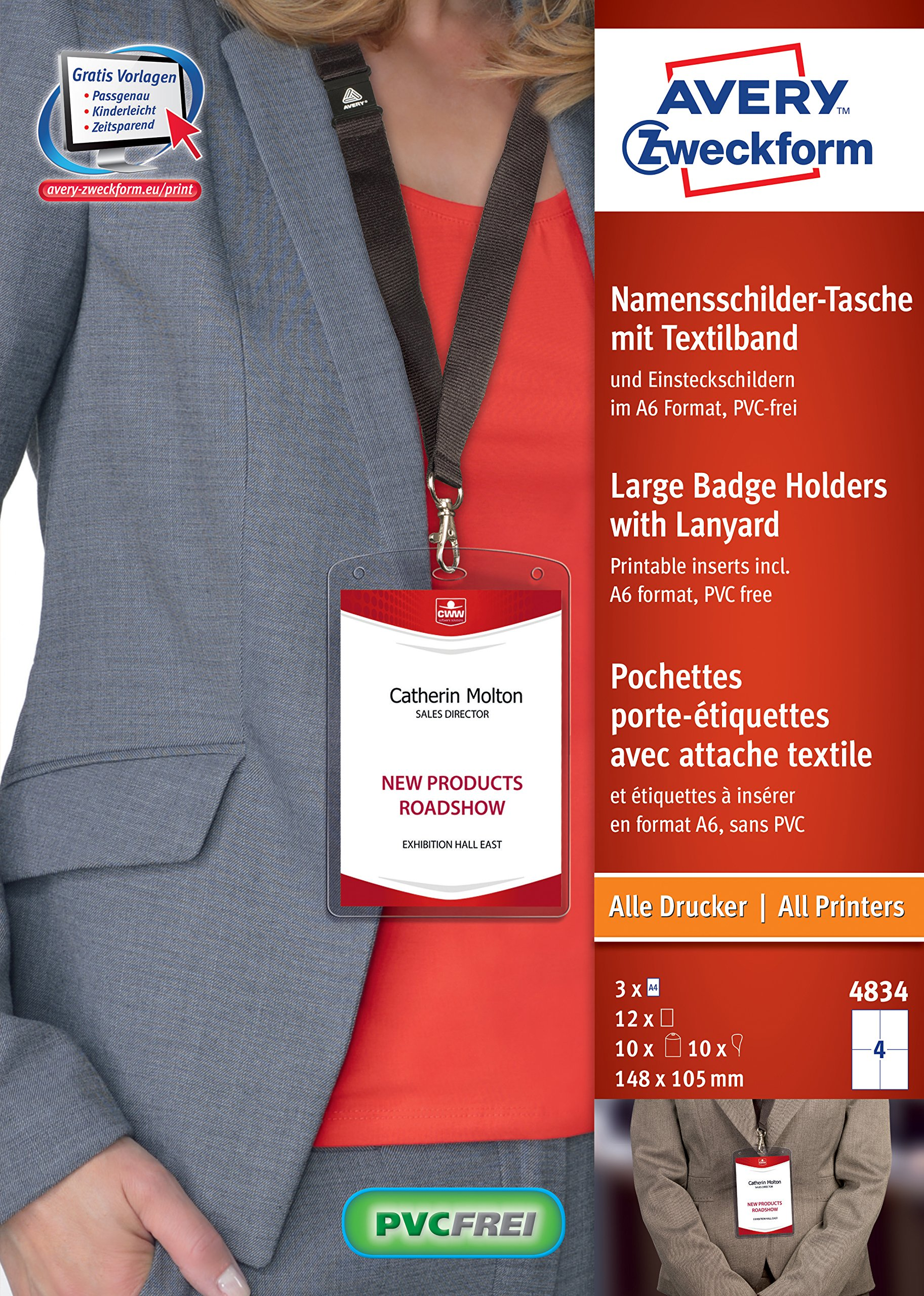 avery 4834 a6 name badge pockets with lanyards and inserts