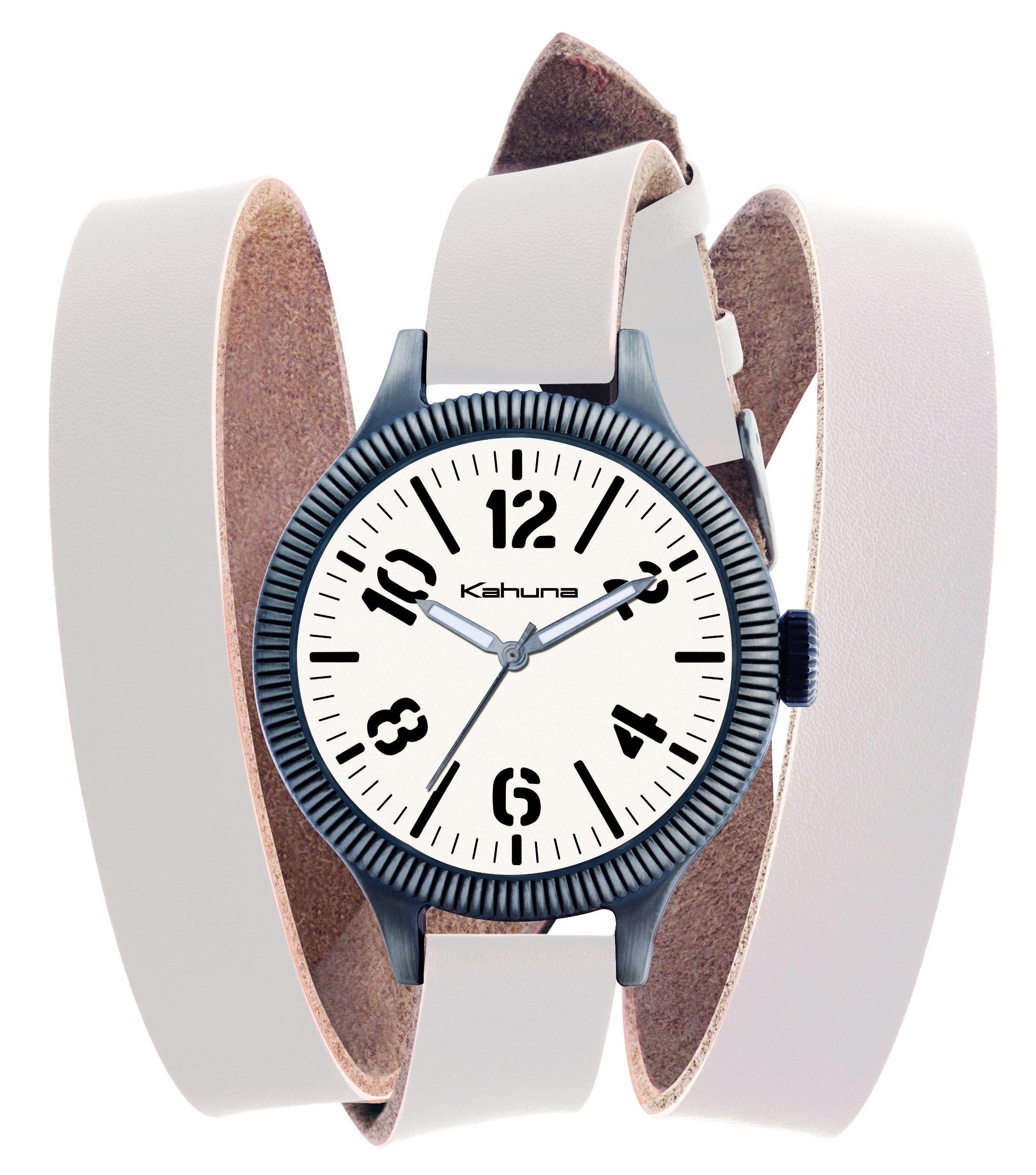 Kahuna KUS-0051G – Reloj analógico de caballero de cuarzo con correa de piel blanca