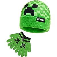 MINECRAFT Set Invernale Bambino Cappello Guanti Caldo e Comodo, Set Beanie e Guanti Bambini Unisex Motivo Creeper Verde…