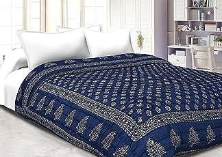 Shopnetix Zylish Gold Print Jaipuri Light Weight Dark Blue Cotton Double Bed Quilt ,Rajai,Razai (Zylish Dark Blue, Double Bed Quilt )