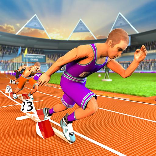 giochi sportivi estivi: atletica corsa estrema, gara ad ostacoli, gara ciclistica e campionato di atletica in salto in alto