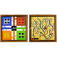 ARTISANS CRAFT - Handmade Wooden 2 in 1 Magnetic Ludo Snakes and Ladders | Board Games | Toys