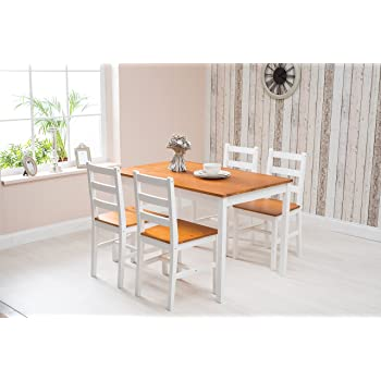 d30633942bd Solid Pine Wooden Dining Table and 4 Chairs Set (Honey   White ...