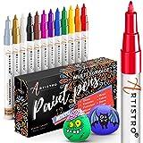 ARTISTRO marqueur acrylique stylos acryliques - 12 couleurs Marqueurs Peinture Acrylique - feutre acrylique pointe fine 0.7mm