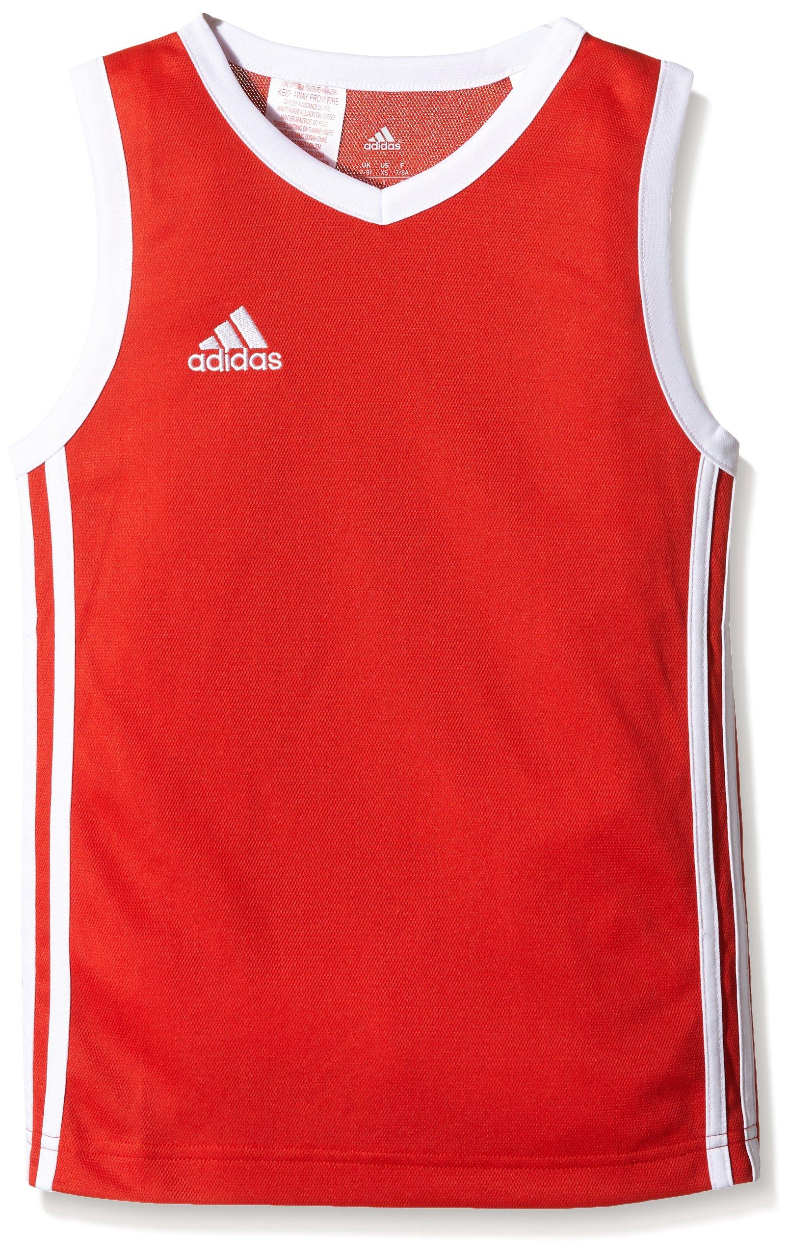 Adidas, Canotta da basket Bambino, Rosso (Rot/Weiß), 140 cm