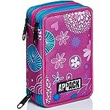 Astuccio 3 Scomparti Appack, Webkins, Rosa, Completo di matite, penne, pennarelli..