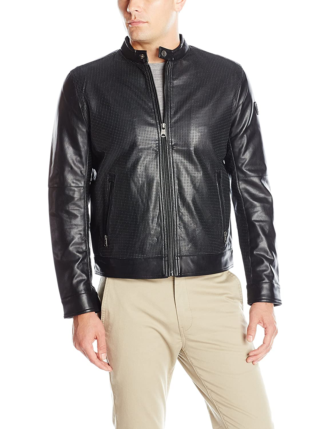 London Mens Lamb Touch Perforated Zip Front Cropped Jacket