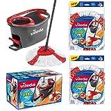 VILEDA TURBO EasyWring & Clean kompletny zestaw, mop z wiadrem i wirówką plus 2 x zapasowa głowica turbo