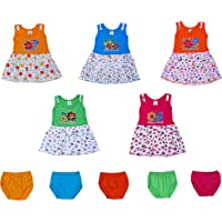 GREEN TEE Baby Girl's A-Line Knee Length Frock (Pack of 5) (RKVM110_Multicolored_6-12 Months)