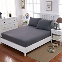 MOHAP Double Fitted Sheet with 30CM Depth Pocket Only Bedsheet No Pillowcases Brushed Microfiber No Color Fade(Grey)