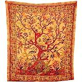 Sprei levensboom oranje 230x205cm kleurrijke vogels bloemen Indiase deken katoen Tie Dye Style