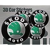 3D Aufkleber 4 Stk. Skoda Logo Imitation Alle Größen Mittelkappen Radkappen (50 mm)