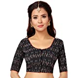 STUDIO Shringaar Women's Ikkat Print Black Pure Cotton Stitched Saree Blouse With Elbow Length Sleeves