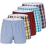 IDORIC Men's Plaid Woven Boxer Underwear 100% Cotton Premium Classic Tartan Shorts 5-Pack