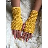 Fingerless gloves hand warmers Yellow Women's