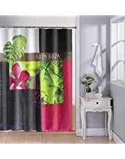Lushomes Digital Zen Design Shower Curtain with 12 Eyelets and 12 Hooks (Single pc, 71'' x 78'' 180 x 200 cms)