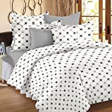 HUESLAND by Ahmedabad Cotton Comfort Cotton Double Bedsheet with 2 Pillow Covers - White and Grey
