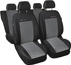 Auto Sitzbezüge, komplettes Set, individuell 100% Angepasst, sehr Robuste Materialien, Velours und Polyurethanschaum, schwarz, grau, Elegance P-2