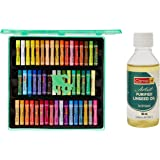 Camel Oil Pastel with Reusable Plastic Box - 50 Shades & Camel Artist Purified Linseed Oil for Oil Color, 100ml (Yellow)