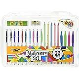 BIC 961543 Stationery Set Glue Stick/Mini Eraser/Correction Tape/HB Graphite Pencil/Ballpoint Pen (Pack of 22)