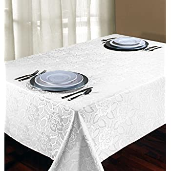 Regal Home Collections Laura Rose Damask Oblong Tablecloth 60-Inch Wide by 102-Inch Long White