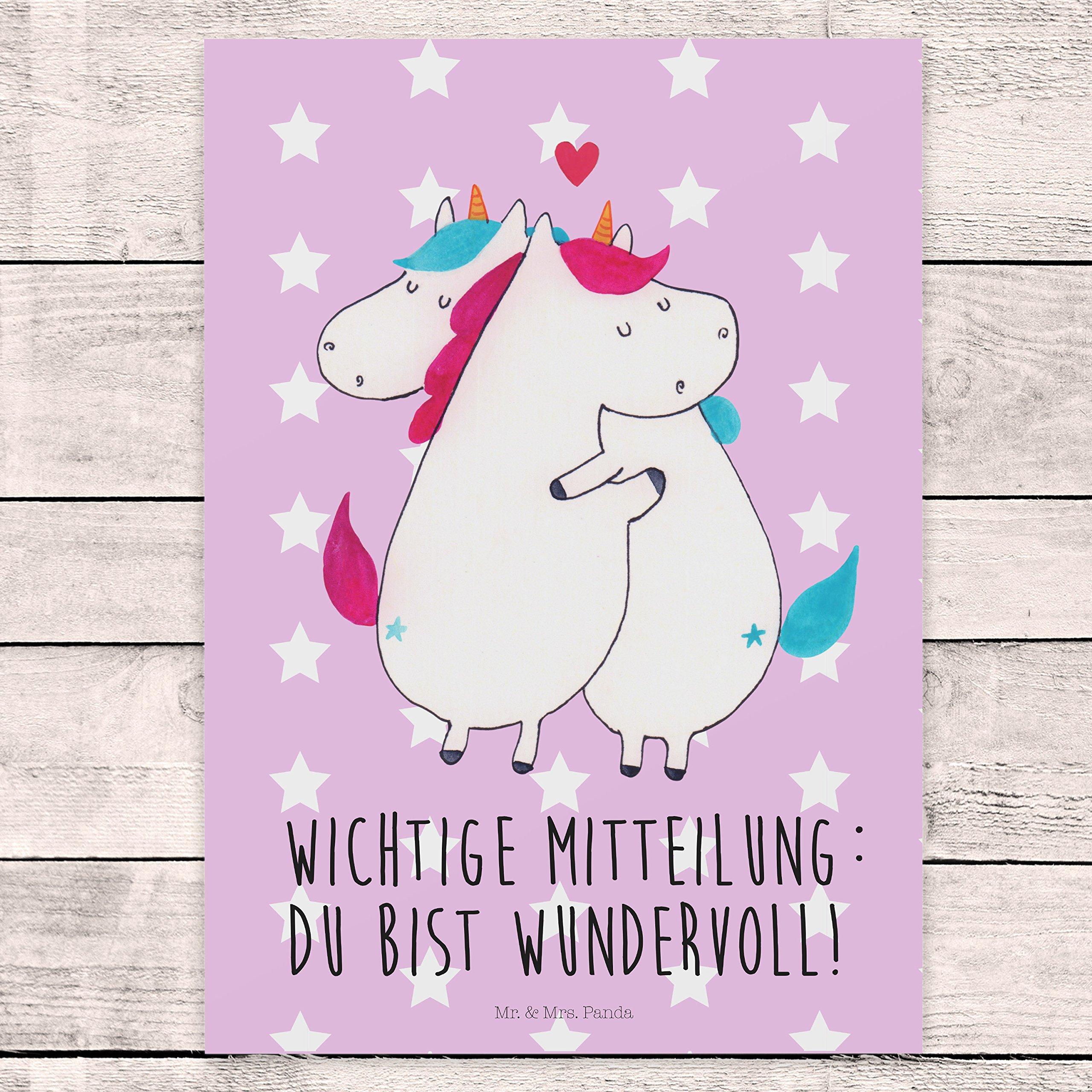 Mru0026period; U0026 Mrsu0026period; Panda Postkarte Einhorn Mitteilung   100u0026percnt;  Handmade In Norddeutschland