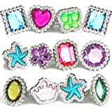 THE TWIDDLERS - 100 Kids Fancy Dress Fashion Crystal Rings - Assorted Colours
