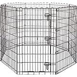 Amazon Basics - Recinzione in metallo per cani, pieghevole, per l'esercizio, 152,4 x 152,4 x 106,6 cm