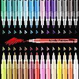 YITHINC 28 Couleurs Stylos de Peinture Acrylique Pointe Extra-fine 0.7 mm Stylos de Peinture sur Roche Cailloux,Verre,Céramiq