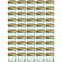 Cap+Cro To 66 Lot de 50 bocaux en verre pour conservation de confiture Couvercles dorés Capacité 125 ml