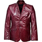 Men's Signature Cherry Red Real Genuine Glazed Leather Designer Fitted Smart Casual 2 Button Blazer Jacket Blouson
