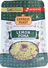 Express Feast Ready to Eat Lemon Poha | 3 minutes easy to cook | Instant Snack Mix | No Preservatives | No Artificial colors | (pack of 3)
