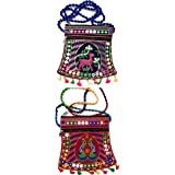 Chircrafts Handicrafts Cotton Embrodery Multicolour Rajasthani Sling Bag for Women & Girls(combo-2)
