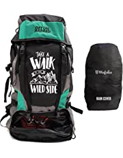 Mufubu Presents Get Unbarred 55 LTR Rucksack for Trekking, Hiking with Shoe Compartment and Waterproof Rain Cover (Black/Turquoise)