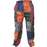 Gheri Mens Paisley Print Hippy Patchwork Lightweight Cotton Cargo Pants