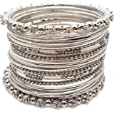 YouBella Antique Look Jewellery Silver Plated Traditional Bracelet Bangles for Women