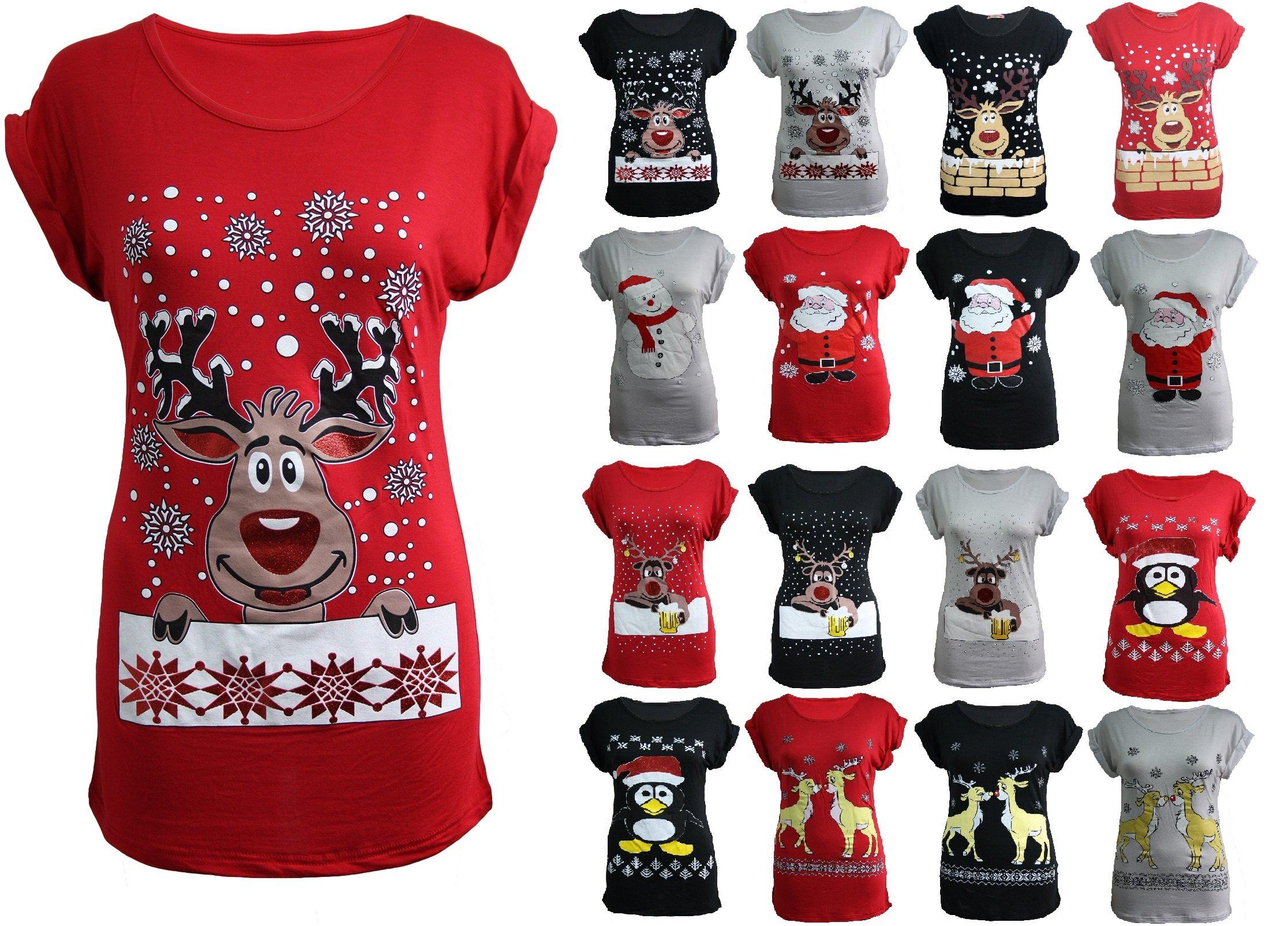 Christmas Tops.Womens Ladies Christmas Glitter T Shirt Reindeer Santa Snowman Print Xmas Tops Novelty Christmas Jumpers