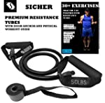 SICHERTM Resistance Tube/Resistance Band with Door Anchor & Physical Booklet with 30 Plus Exercises,(30 LBS / 50 LBS).