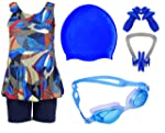 Wetex Premium Girls Swimming Kit with Swimming Costume Swimming Goggles Silicone Swimming Cap + 1 Nose Clip + 2 Ear Plugs