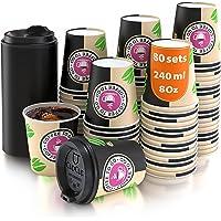 80 Gobelets Carton pour Café à Emporter - Tasse Café 240ml avec Couvercles pour Servir Le Café, Le Thé, des Boissons…