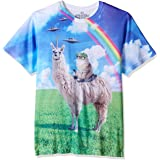 Goodie Two Sleeves Humor Cat Rides Llamacorn Adult T-Shirt