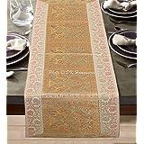 DK Homewares Traditionnel Blanc Brocart Nappe De Table 60 X 16 Pouces Décor De Table Jacquard Satin 5 Ft Chemin De Table (40