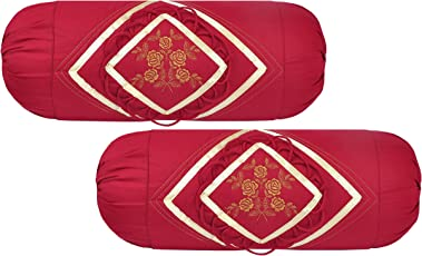 Embroidered Cotton Bolsters Cover (Pack of 2, Maroon) by Rj Products