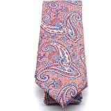 Cravatta di seta rossa 100% seta – Cravatte uomo eleganti Paisley - cravatte fatte a mano - misura 7 cm (rosso)