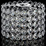 Crystal Lamp Shade Ceiling Light Shade Fitting for Living Room, Bedroom and Bathroom, Warm White, Bulb Not Included (Silver,