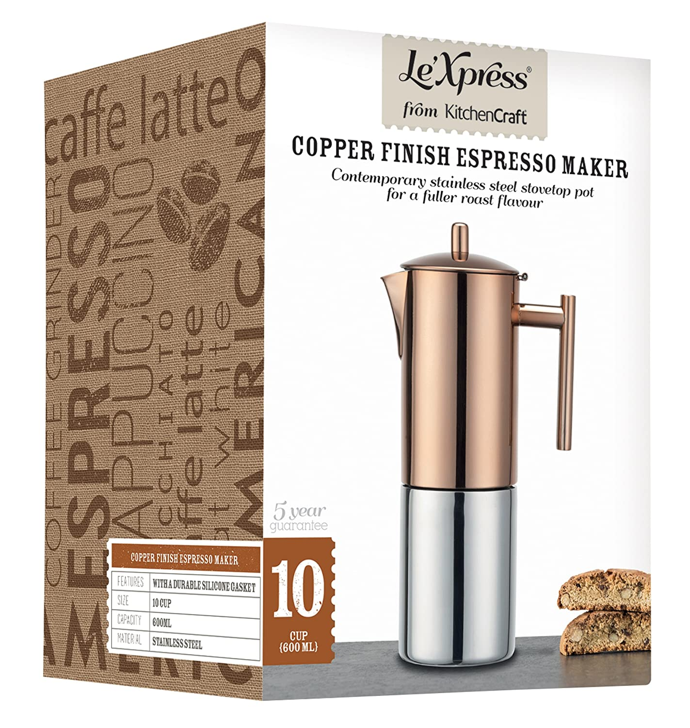 Stainless steel stovetop espresso maker 10 cup - Kitchencraft Le Xpress 10 Cup Stovetop Espresso Maker 600 Ml Copper Finish Amazon Co Uk Kitchen Home
