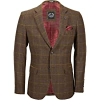 Xposed Chester Mens Tan Brown Tweed Check Jacket Vintage Country Style Blazer