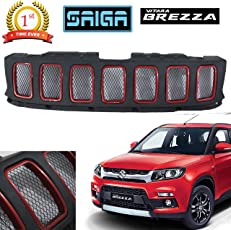 Saiga Jeep Compass Style Front Grill for Suzuki Brezza (Black & Blazing Red)