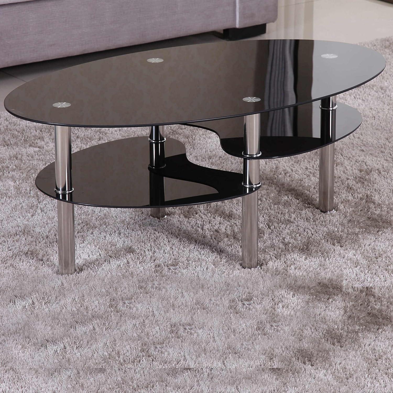 Couchtisch 98x58cm Schwarz Sicherheitsglas Beistelltisch Wohnzimmertisch Glas Tisch Sofatisch Loungetisch Ziertisch Chrom Gestell Verchromt Modern